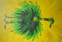 Malerei, Strauß, Acrylmalerei