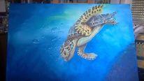 Schildkröte, Blau, Meer, Acrylmalerei