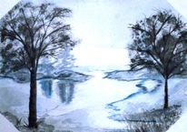 Landschaft, See, Blau, Aquarellmalerei