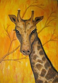Tiere, Acrylmalerei, Giraffe, Malerei