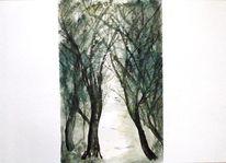 Baum, Trauer traurig, Malerei, Abschied
