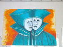 Acrylmalerei, Maske, Menschen, Malerei