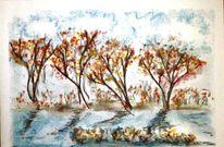 Malerei, Kreide, Abstrakt herbst, Zeichnung
