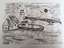 Zeichnung, Landschaft, Verträumt, Träumerei