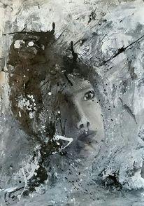 Abstrakt, Grafit, Schwarz weiß, Portrait