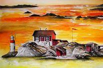 Aquarellmalerei, Landschaft, Schweden, Aquarell