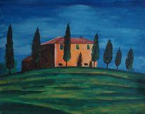 Landschaft, Haus, Gebäude, Acrylmalerei