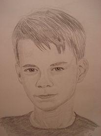 Portrait, Zeichnung, Grafit, Kind