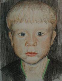 Portrait, Zeichnung, Buntstiftzeichnung, Kind