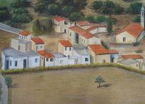 Wald, Zypern, Haus, Pastellmalerei