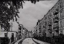Stadt, Zeichnung, Schwarz weiß, Federzeichnung