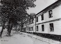 Alte häuser, Schwarz weiß, Haus, Baum