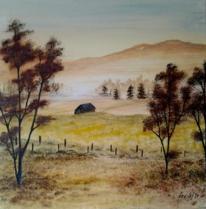 Hütte, Pflanzen, Landleben, Malerei