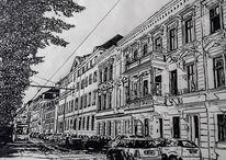 Stadt, Schwarz weiß, Straße, Federzeichnung