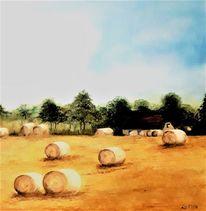 Landschaftsmalerei, Feld, Strohballen, Haus