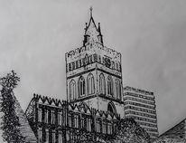 Federzeichnung, Kirche, Zeichnung, Hochhaus