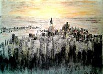 Stadt, Ort, Kohlezeichnung, Pastellmalerei