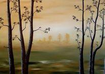 Ocker, Baum, Nebel, Lichtung