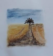 Feld, Kreide, Baum, Stimmung