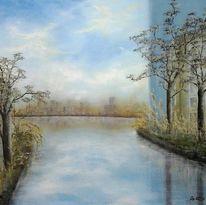 Baum, Spiegelung, Wasser, Wolken
