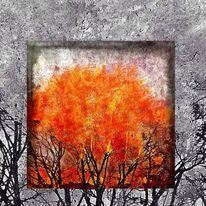 Baum, Schwarz, Plakatkunst, Orange