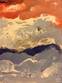 Bewegung, Blau, Glas, Acrylmalerei