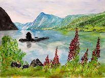 Fjord, Aquarellmalerei, Malerei,