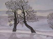 Aquarellmalerei, Schwarz, Winter, Schnee