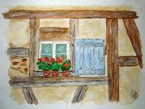 Fachwerk, Aquarellmalerei, Blumen, Hausfront