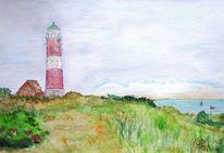 Leuchtturm, Meer, Ostsee, Malerei