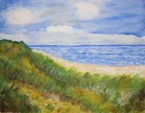 Acrylmalerei, Auf leinen, Strand, Malerei