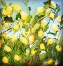 Pflanzen, Gelb, Zitrone, Mischtechnik