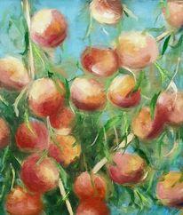 Obst, Schichtmalerei, Landschaft, Pfirsich