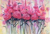 Hortensien, Spachtel, Blumen, Malerei