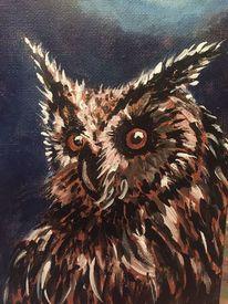 Acrylmalerei, Nacht, Eule, Malerei