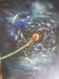 Pusteblumen, Makro, Nacht, Malerei