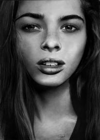 Bleistiftzeichnung, Portrait, Zeichnung, Frau