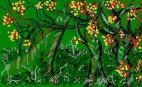 Baum, Malerei, Landschaft, Digitale kunst