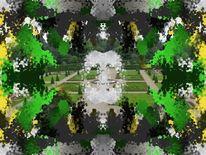 Terrassengarten, Landschaft, Malerei, Digitale kunst