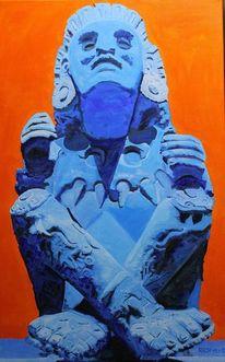 Azteken hommage i, Xochipilli, Malerei, Hommage