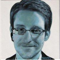 Portrait, Edward snowden, Acrylmalerei, Malerei