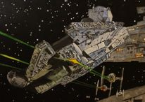 Millennium falke, Star wars, Malerei, Falke