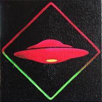 Ufo, Linoldruck, Koloriert, Druckgrafik