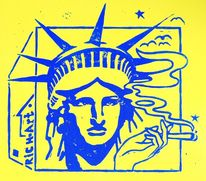 Miss liberty, Rauchen, Linolschnitt, Druckgrafik