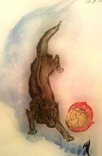 Wolf, Hati, Mond, Mischtechnik