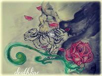 Rose, Schädel, Rennen, Tod