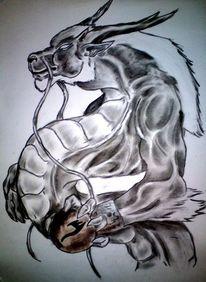 Drache, Kugel, Zeichnungen, Zeichnung