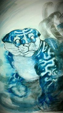 Tiger, Winter, Blau, Malerei