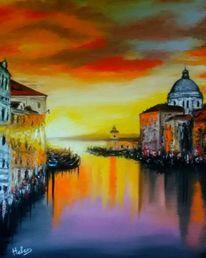 Kunstwerk, Malerei, Venedig, Sonnenuntergang