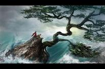 Meer, Grün, Welle, Baum